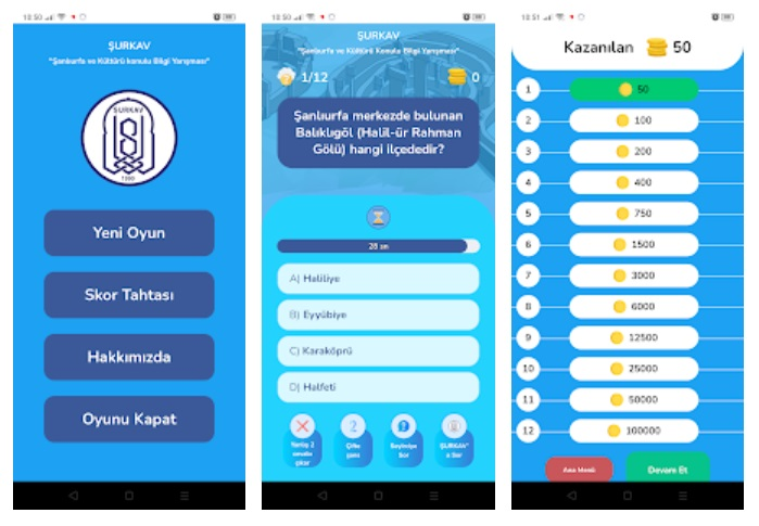 ŞURKAV Dijital Bilgi Yarışması Mobil Uygulaması