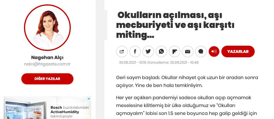 """Nagehan Alçı : """"Aşı Olmayan Öğretmen Ücretsiz İzne Çıkartılsın"""""""
